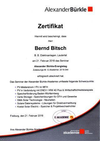 Zertifikat Alexander Bürkle