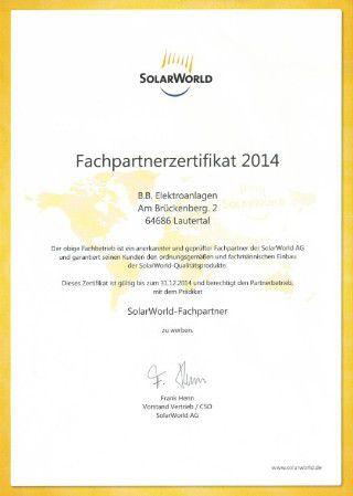 SolarWorld Fachpartnerzertifikat 2014