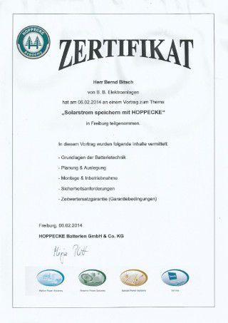 Zertifikat Hoppecke