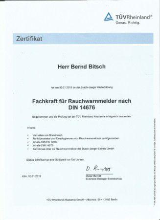 TÜV Zertifikat Fachkranf für Rauchwarnmelder nach DIN 14676