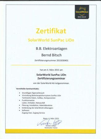 Zertifikat SolarWorld SunPac LiOn